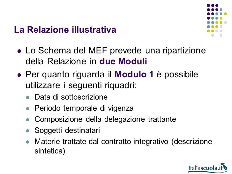 La Relazione illustrativa Lo Schema del MEF prevede una ripartizione della Relazione in due Moduli Per quanto riguarda il Modulo 1 è possibile utilizz