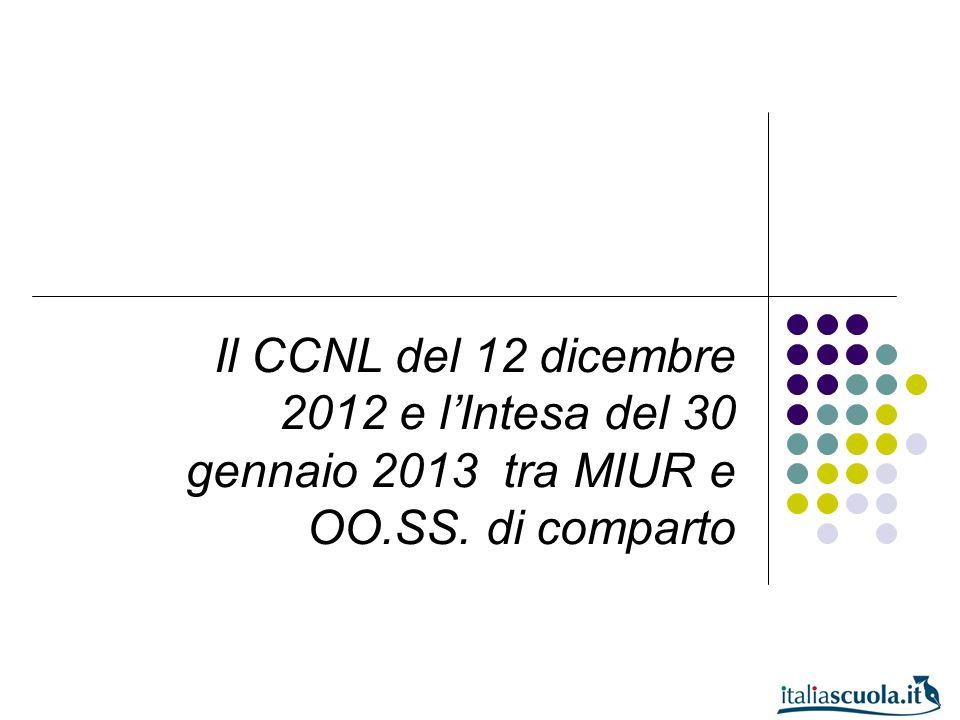Il CCNL del 12 dicembre 2012 e lIntesa del 30 gennaio 2013 tra MIUR e OO.SS. di comparto