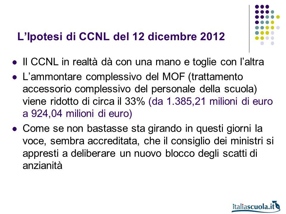 LIpotesi di CCNL del 12 dicembre 2012 Il CCNL in realtà dà con una mano e toglie con laltra Lammontare complessivo del MOF (trattamento accessorio com