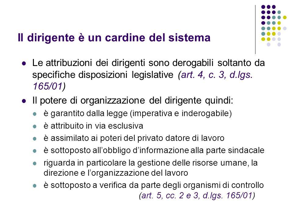 Il dirigente è un cardine del sistema Le attribuzioni dei dirigenti sono derogabili soltanto da specifiche disposizioni legislative (art. 4, c. 3, d.l