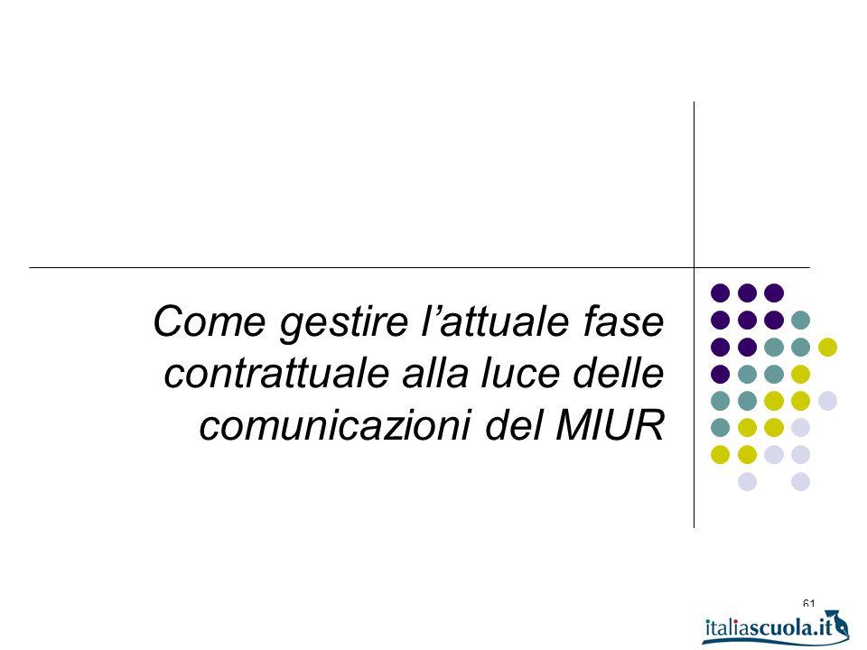 61 Come gestire lattuale fase contrattuale alla luce delle comunicazioni del MIUR