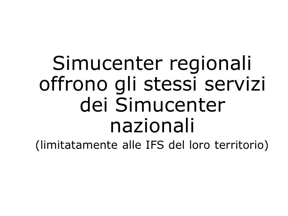 Simucenter regionali offrono gli stessi servizi dei Simucenter nazionali (limitatamente alle IFS del loro territorio)