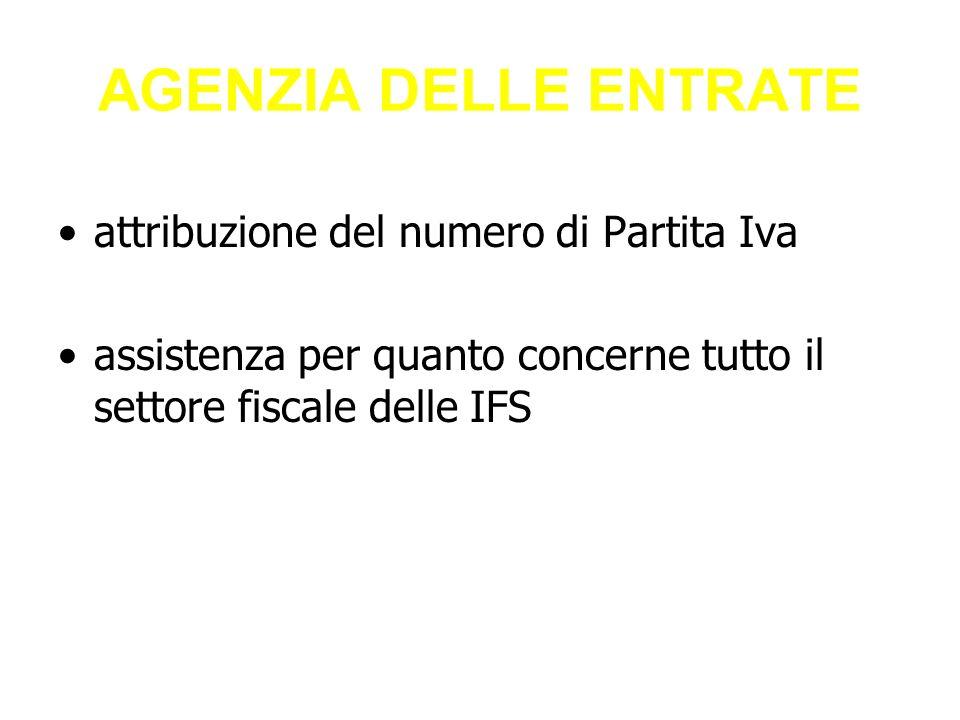 AGENZIA DELLE ENTRATE attribuzione del numero di Partita Iva assistenza per quanto concerne tutto il settore fiscale delle IFS