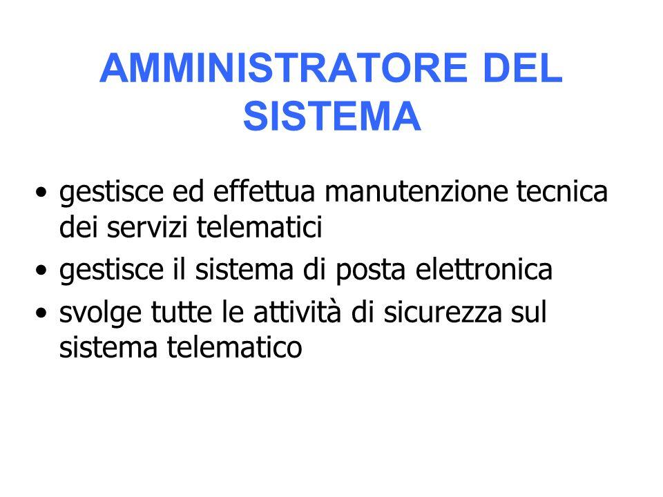 AMMINISTRATORE DEL SISTEMA gestisce ed effettua manutenzione tecnica dei servizi telematici gestisce il sistema di posta elettronica svolge tutte le attività di sicurezza sul sistema telematico