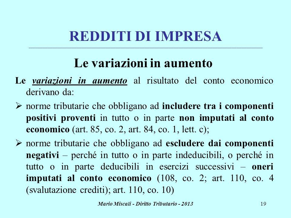 Mario Miscali - Diritto Tributario - 201319 REDDITI DI IMPRESA _______________________________________________________________________________________