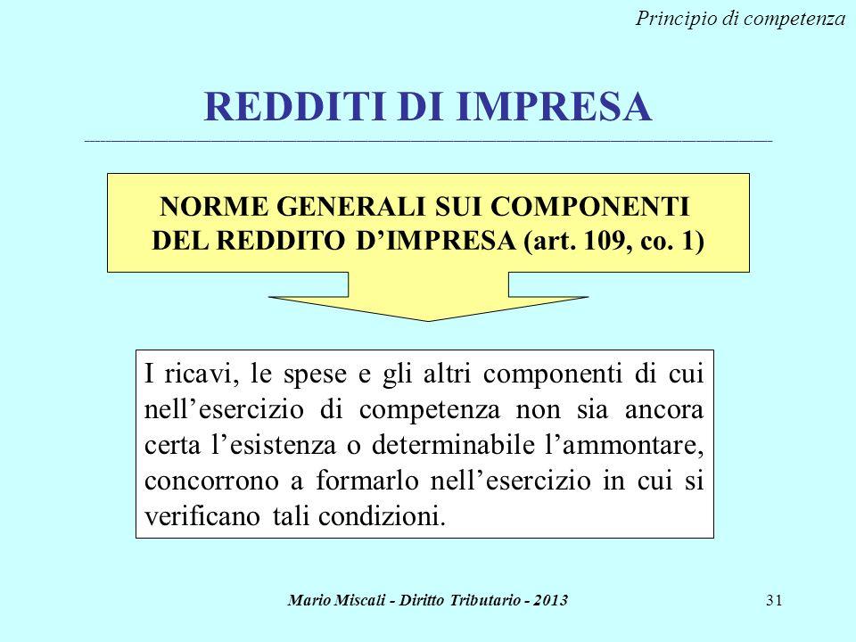 Mario Miscali - Diritto Tributario - 201331 REDDITI DI IMPRESA _______________________________________________________________________________________