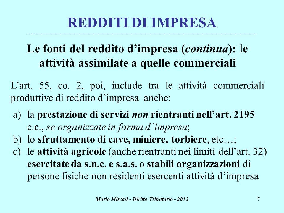 Mario Miscali - Diritto Tributario - 20137 REDDITI DI IMPRESA ________________________________________________________________________________________