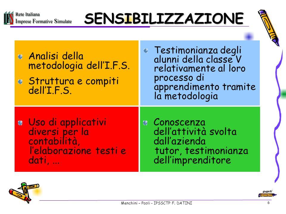Menchini – Paoli - IPSSCTP F.DATINI 6 SENSIBILIZZAZIONE Analisi della metodologia dellI.F.S.