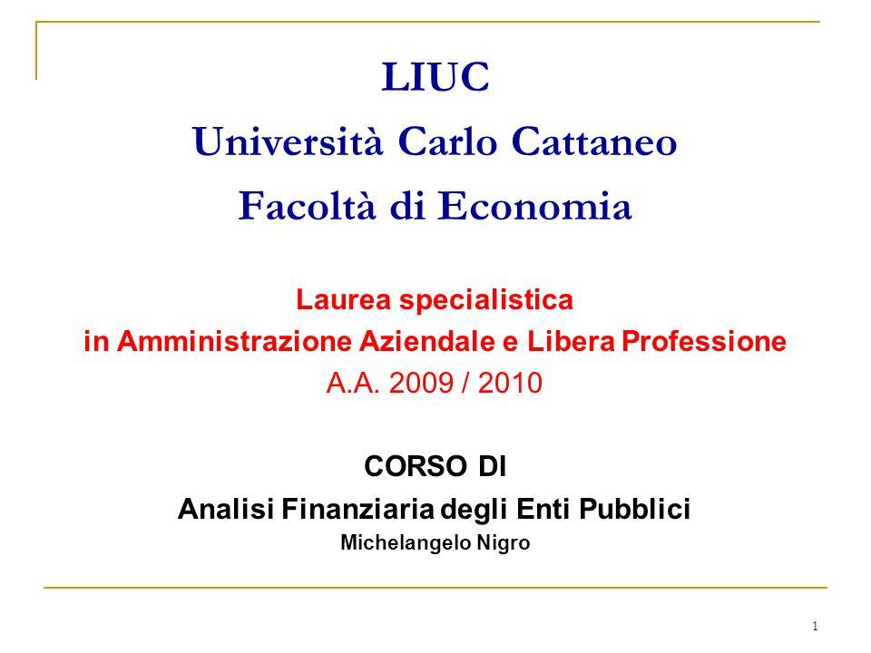 1 LIUC Università Carlo Cattaneo Facoltà di Economia Laurea specialistica in Amministrazione Aziendale e Libera Professione A.A. 2009 / 2010 CORSO DI
