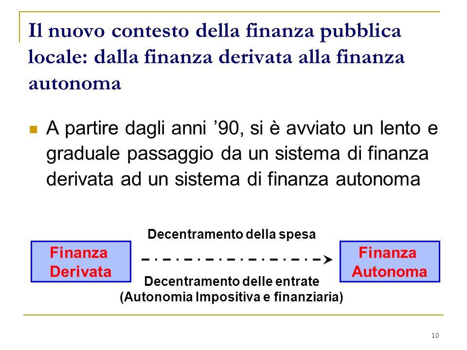 10 Il nuovo contesto della finanza pubblica locale: dalla finanza derivata alla finanza autonoma A partire dagli anni 90, si è avviato un lento e grad