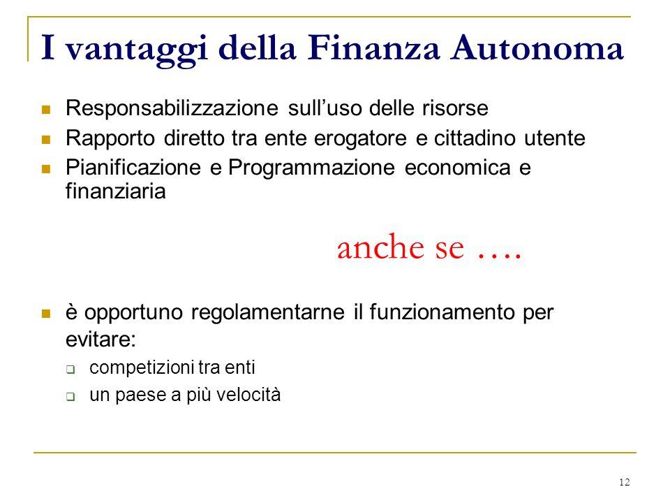 12 I vantaggi della Finanza Autonoma Responsabilizzazione sulluso delle risorse Rapporto diretto tra ente erogatore e cittadino utente Pianificazione
