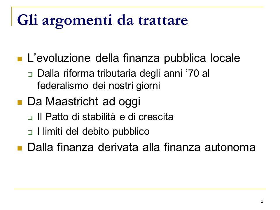 2 Gli argomenti da trattare Levoluzione della finanza pubblica locale Dalla riforma tributaria degli anni 70 al federalismo dei nostri giorni Da Maastricht ad oggi Il Patto di stabilità e di crescita I limiti del debito pubblico Dalla finanza derivata alla finanza autonoma
