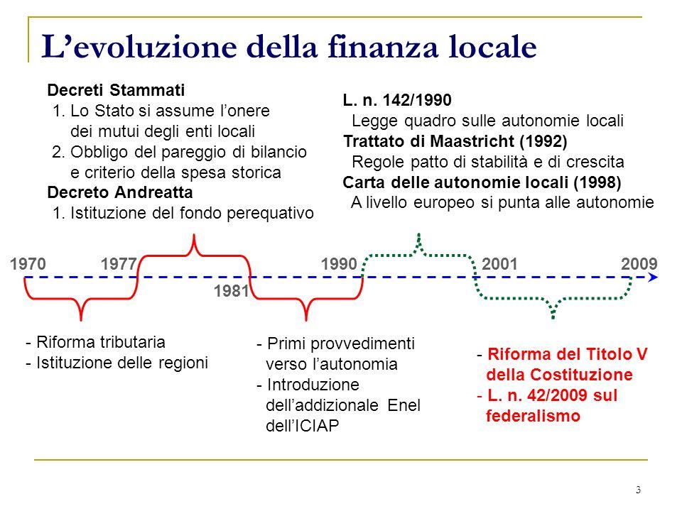 3 Levoluzione della finanza locale 19701977 - Riforma tributaria - Istituzione delle regioni 1981 Decreti Stammati 1. Lo Stato si assume lonere dei mu