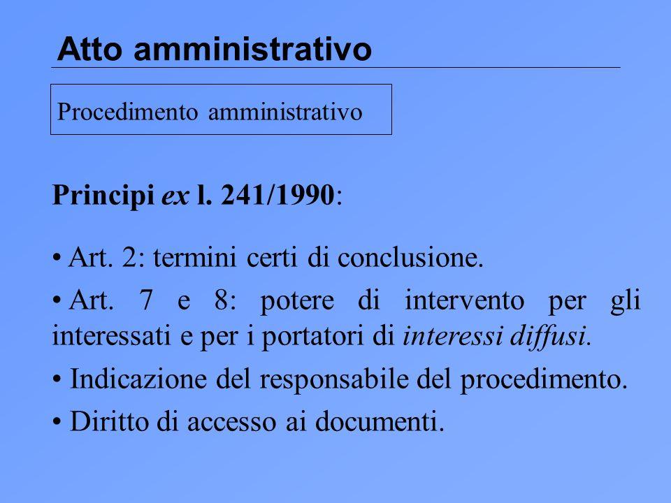Atto amministrativo Principi ex l.241/1990: Art. 2: termini certi di conclusione.