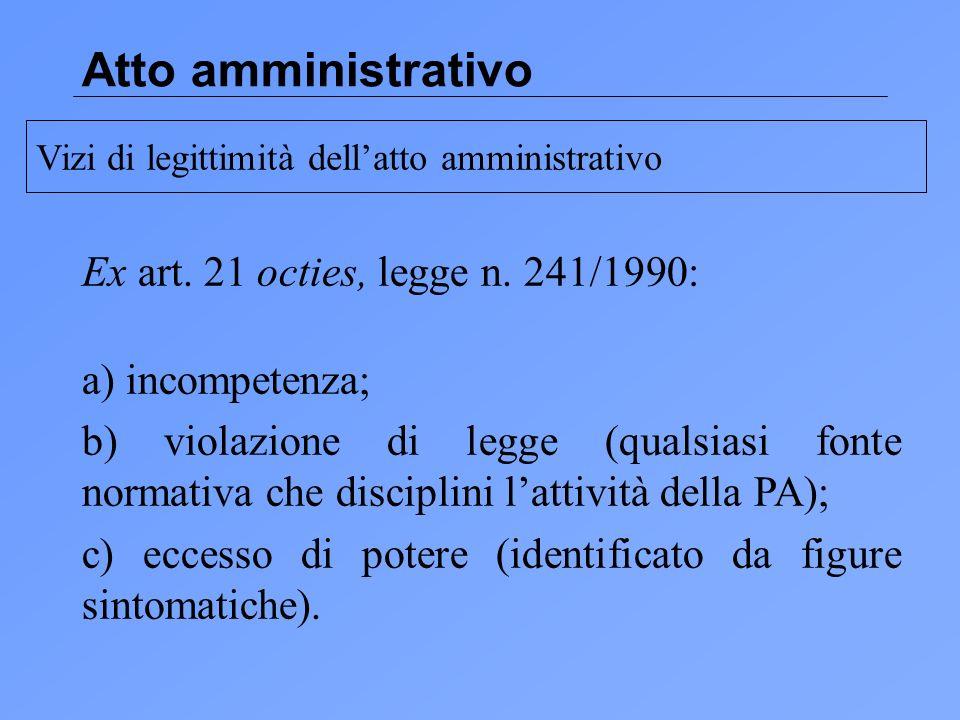 Atto amministrativo Ex art.21 octies, legge n.