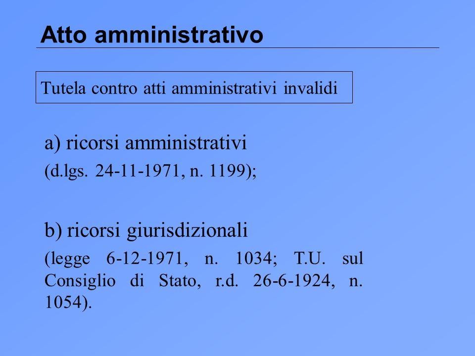 Atto amministrativo a) ricorsi amministrativi (d.lgs.