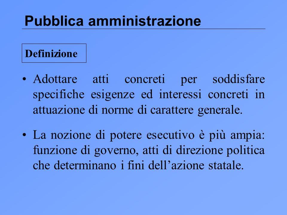Pubblica amministrazione Adottare atti concreti per soddisfare specifiche esigenze ed interessi concreti in attuazione di norme di carattere generale.