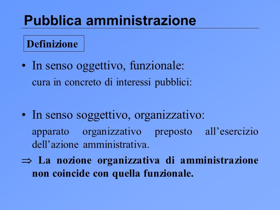Pubblica amministrazione In senso oggettivo, funzionale: cura in concreto di interessi pubblici: In senso soggettivo, organizzativo: apparato organizzativo preposto allesercizio dellazione amministrativa.