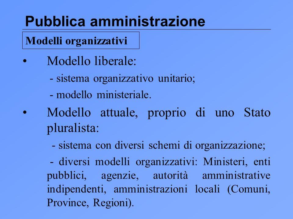 Pubblica amministrazione Modello liberale: - sistema organizzativo unitario; - modello ministeriale.