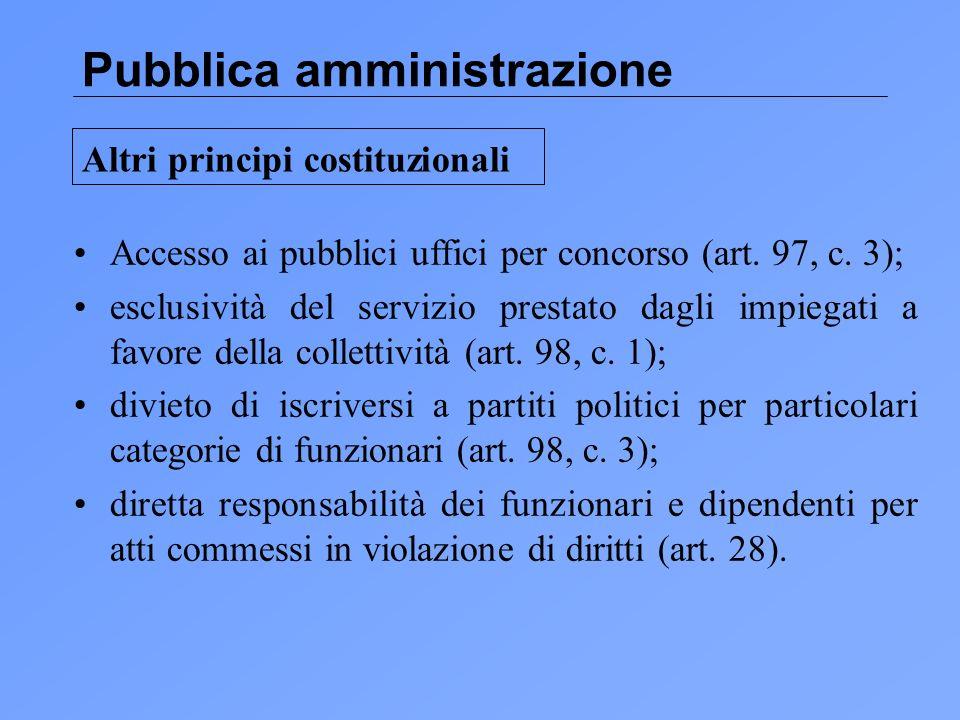 Pubblica amministrazione Accesso ai pubblici uffici per concorso (art.