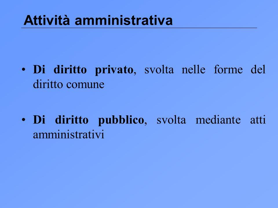 Attività amministrativa Di diritto privato, svolta nelle forme del diritto comune Di diritto pubblico, svolta mediante atti amministrativi