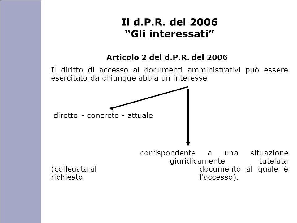 Università degli Studi di Perugia Il d.P.R. del 2006 Gli interessati Articolo 2 del d.P.R. del 2006 Il diritto di accesso ai documenti amministrativi
