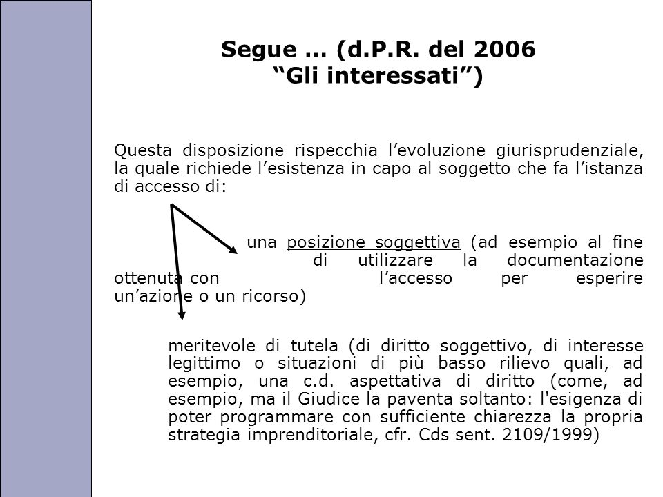 Università degli Studi di Perugia Segue … (d.P.R. del 2006 Gli interessati) Questa disposizione rispecchia levoluzione giurisprudenziale, la quale ric