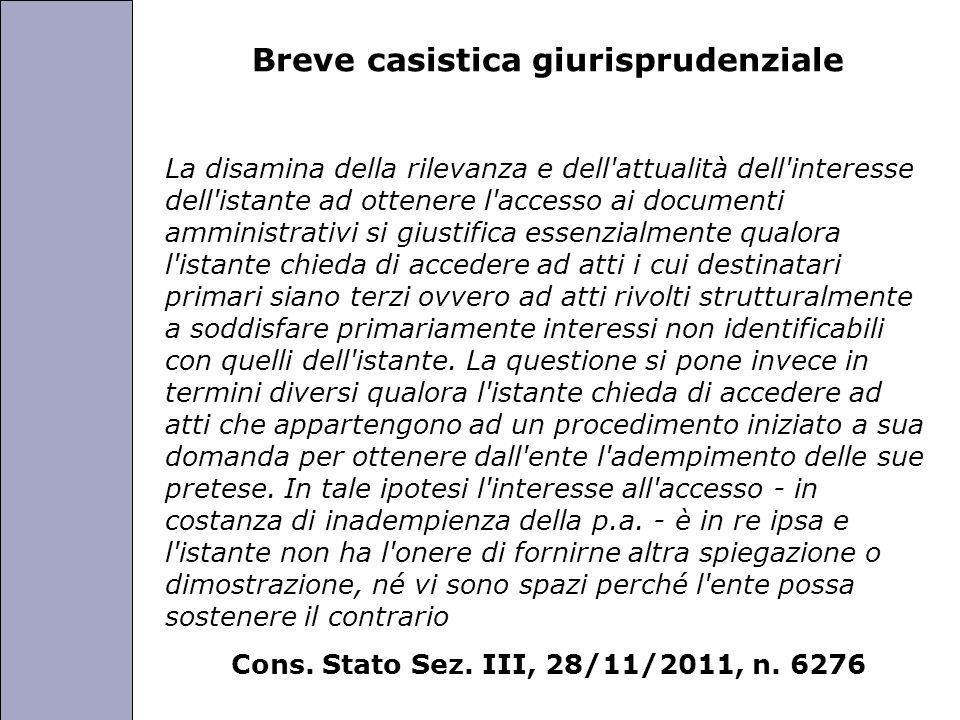 Università degli Studi di Perugia Breve casistica giurisprudenziale La disamina della rilevanza e dell'attualità dell'interesse dell'istante ad ottene