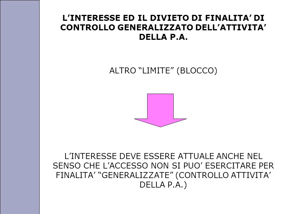 Università degli Studi di Perugia LINTERESSE ED IL DIVIETO DI FINALITA DI CONTROLLO GENERALIZZATO DELLATTIVITA DELLA P.A. ALTRO LIMITE (BLOCCO) LINTER