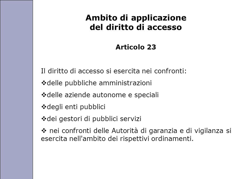 Università degli Studi di Perugia Ambito di applicazione del diritto di accesso Articolo 23 Il diritto di accesso si esercita nei confronti: delle pub