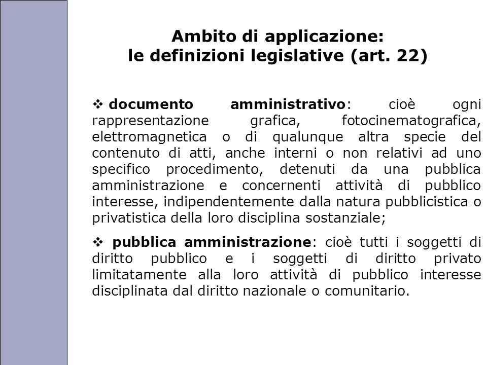 Università degli Studi di Perugia Ambito di applicazione: le definizioni legislative (art. 22) documento amministrativo: cioè ogni rappresentazione gr