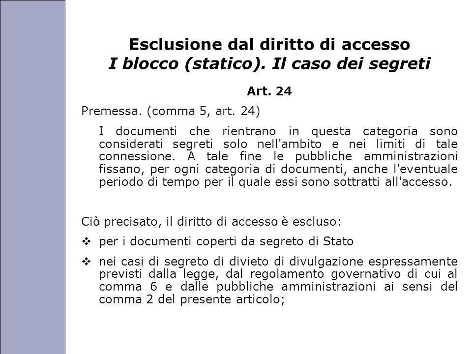 Università degli Studi di Perugia Esclusione dal diritto di accesso I blocco (statico). Il caso dei segreti Art. 24 Premessa. (comma 5, art. 24) I doc