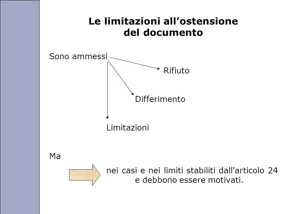 Università degli Studi di Perugia Le limitazioni allostensione del documento Sono ammessi Rifiuto Differimento Limitazioni Ma nei casi e nei limiti stabiliti dall articolo 24 e debbono essere motivati.
