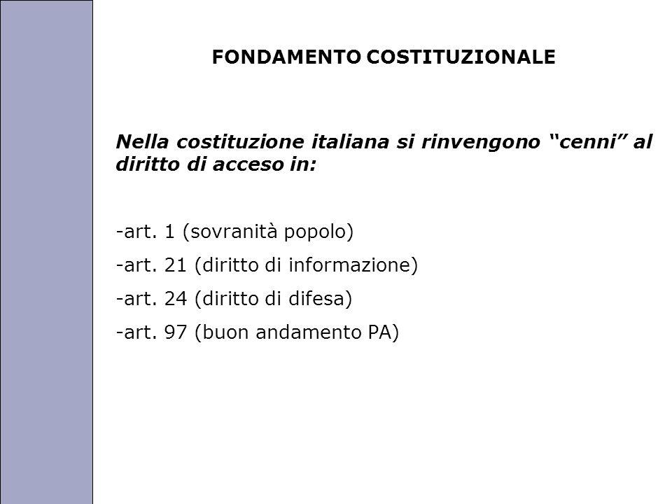 Università degli Studi di Perugia FONDAMENTO COSTITUZIONALE Nella costituzione italiana si rinvengono cenni al diritto di acceso in: -art. 1 (sovranit