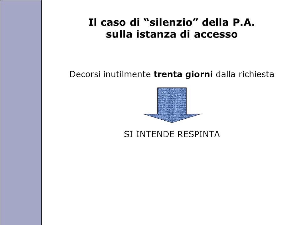Università degli Studi di Perugia Il caso di silenzio della P.A. sulla istanza di accesso Decorsi inutilmente trenta giorni dalla richiesta SI INTENDE