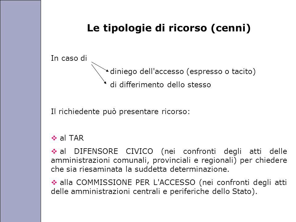 Università degli Studi di Perugia Le tipologie di ricorso (cenni) In caso di diniego dell'accesso (espresso o tacito) di differimento dello stesso Il