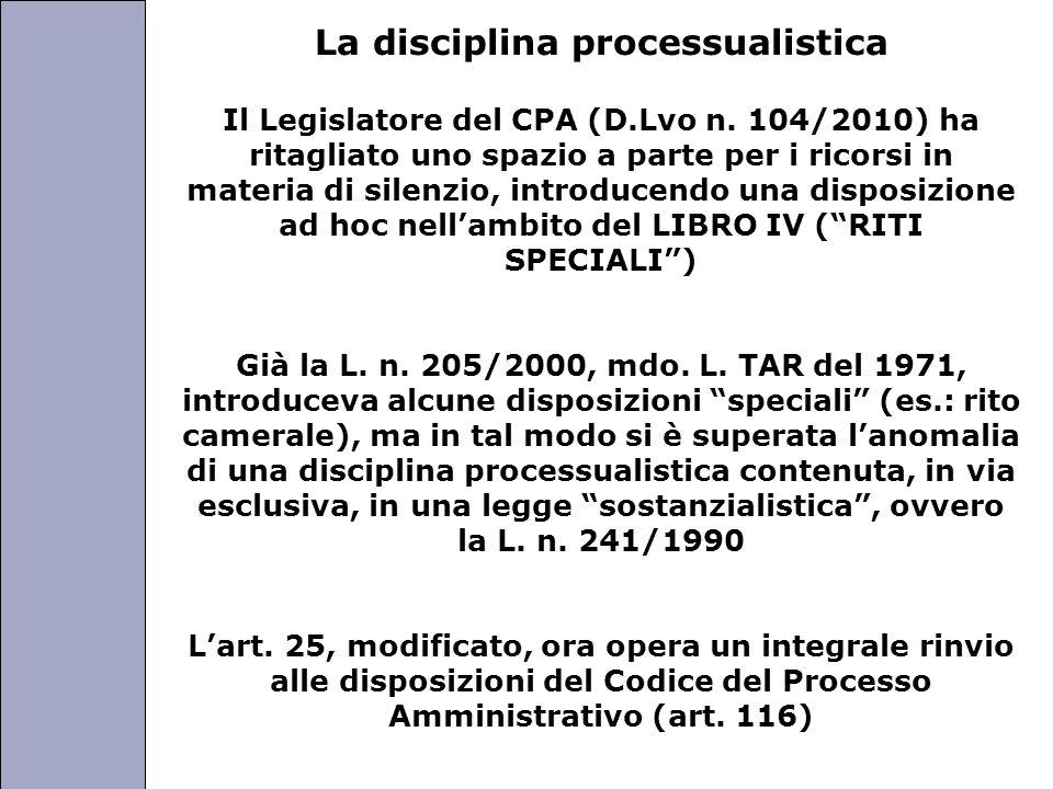 Università degli Studi di Perugia La disciplina processualistica Il Legislatore del CPA (D.Lvo n.