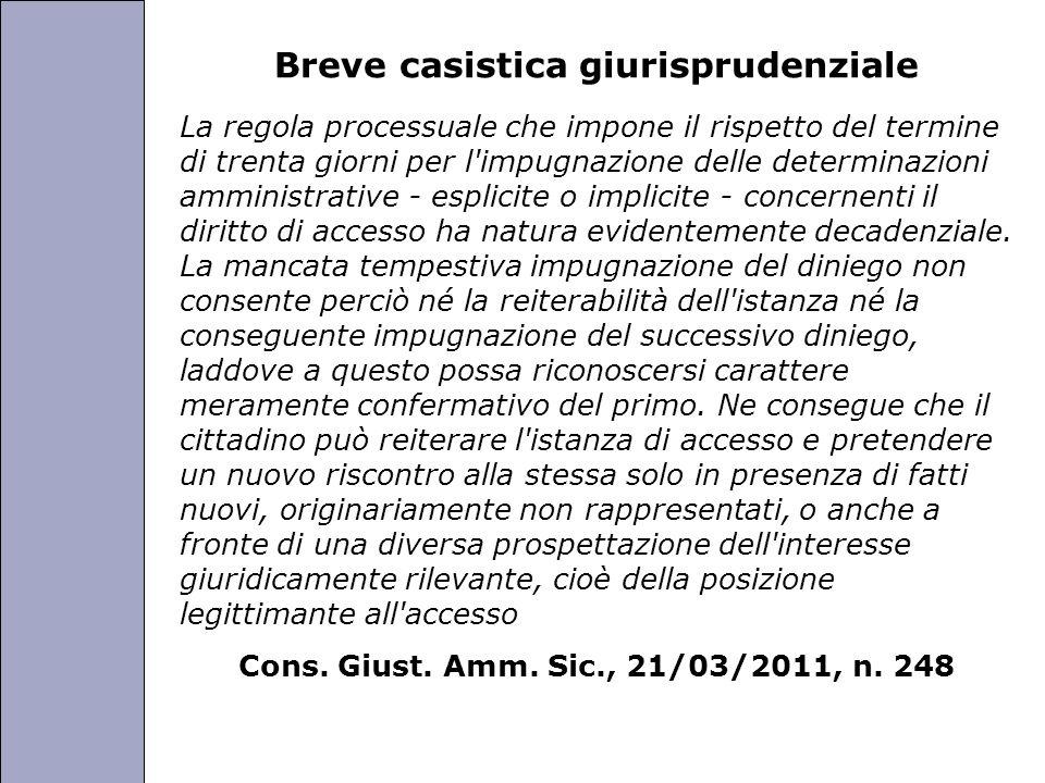 Università degli Studi di Perugia Breve casistica giurisprudenziale La regola processuale che impone il rispetto del termine di trenta giorni per l'im