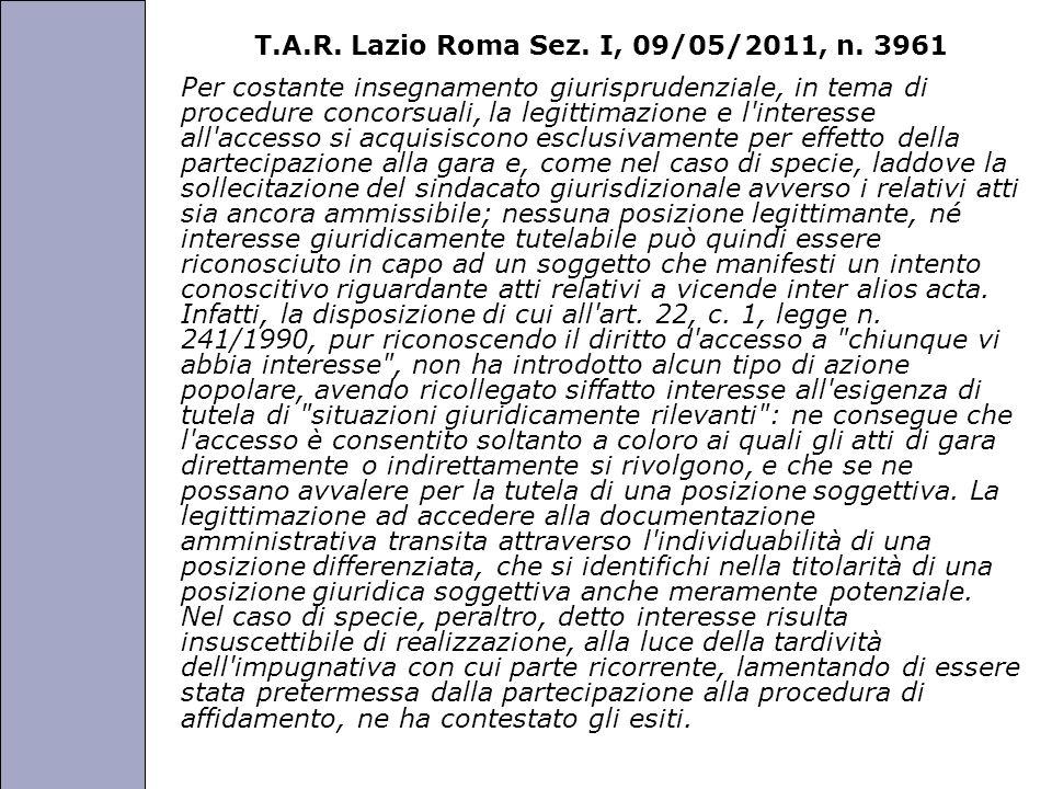 Università degli Studi di Perugia T.A.R. Lazio Roma Sez. I, 09/05/2011, n. 3961 Per costante insegnamento giurisprudenziale, in tema di procedure conc