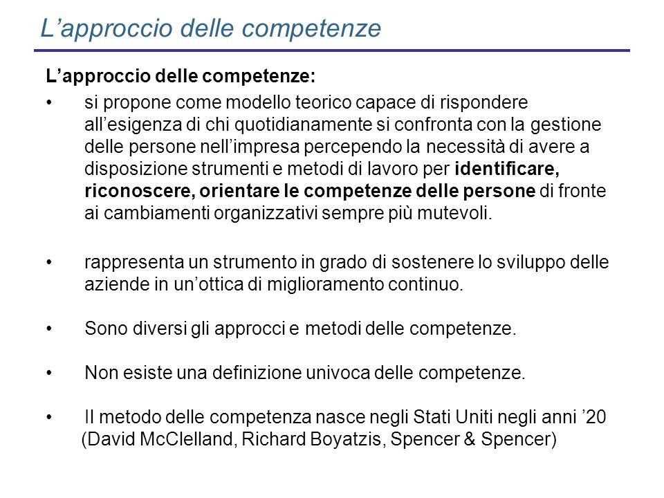 Lapproccio delle competenze Lapproccio delle competenze: si propone come modello teorico capace di rispondere allesigenza di chi quotidianamente si co