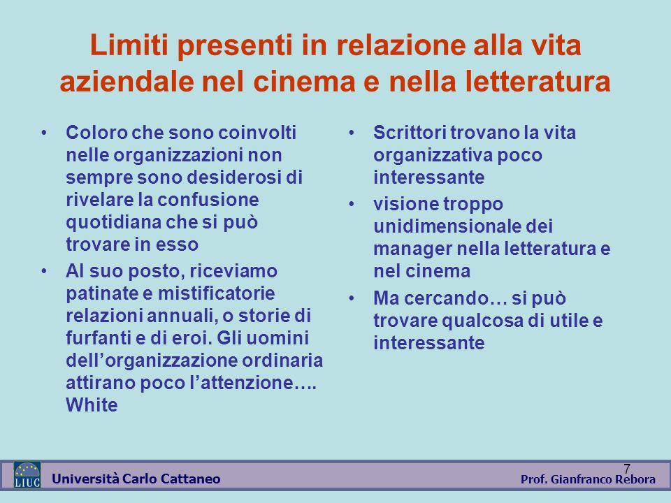 Prof. Gianfranco Rebora Università Carlo Cattaneo 7 Limiti presenti in relazione alla vita aziendale nel cinema e nella letteratura Coloro che sono co