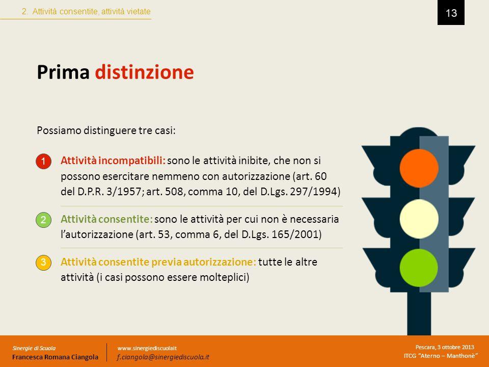 13 Prima distinzione Possiamo distinguere tre casi: 2. Attività consentite, attività vietate Sinergie di Scuola Francesca Romana Ciangola Pescara, 3 o