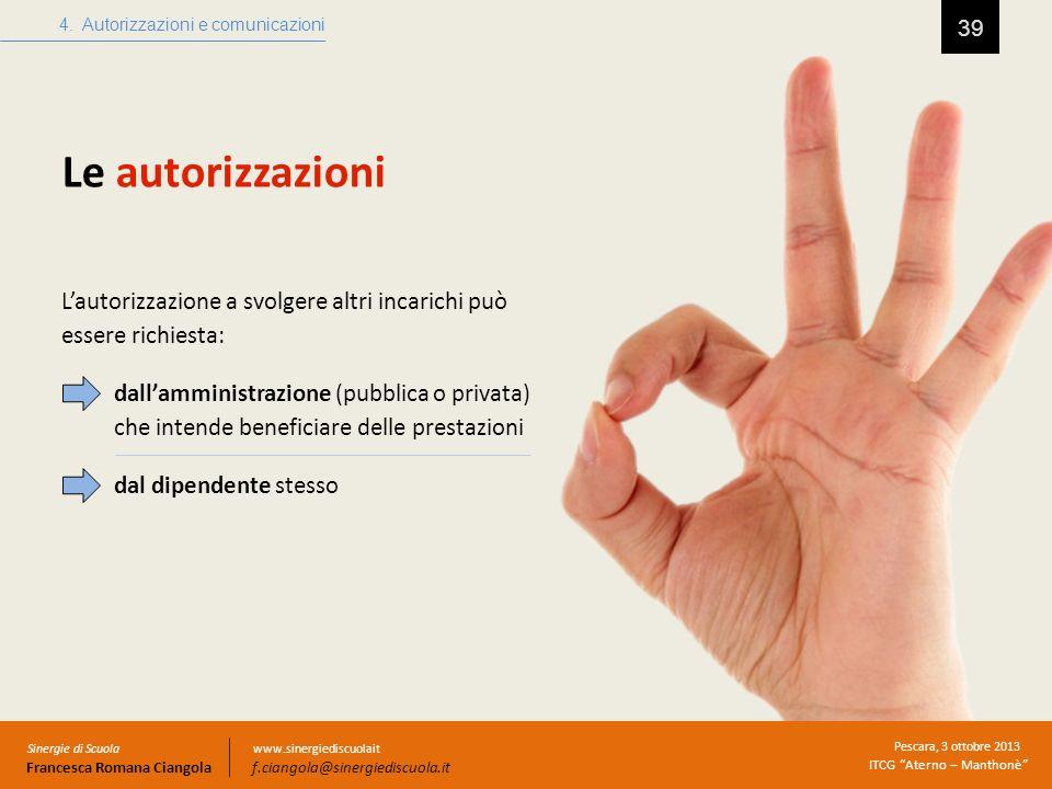 Le autorizzazioni 39 4. Autorizzazioni e comunicazioni Sinergie di Scuola Francesca Romana Ciangola Pescara, 3 ottobre 2013 ITCG Aterno – Manthonè www