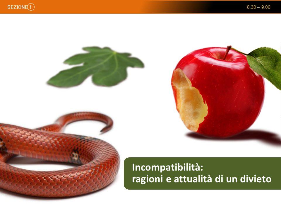 SEZIONE 8.30 – 9.00 1 Incompatibilità: ragioni e attualità di un divieto