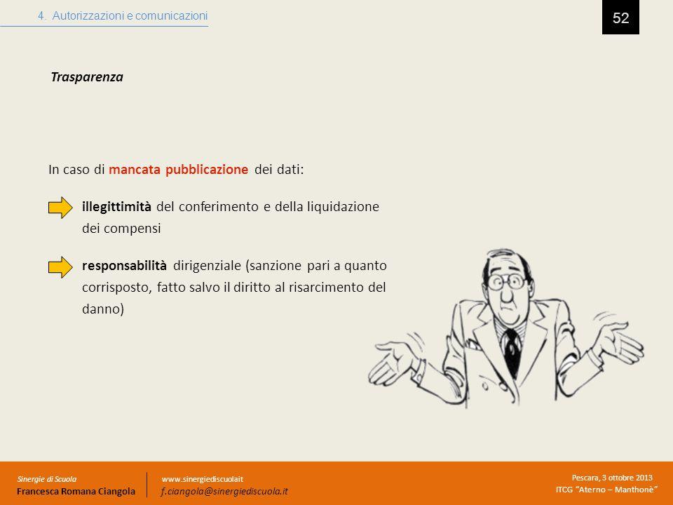 52 Trasparenza 4. Autorizzazioni e comunicazioni Sinergie di Scuola Francesca Romana Ciangola Pescara, 3 ottobre 2013 ITCG Aterno – Manthonè www.siner