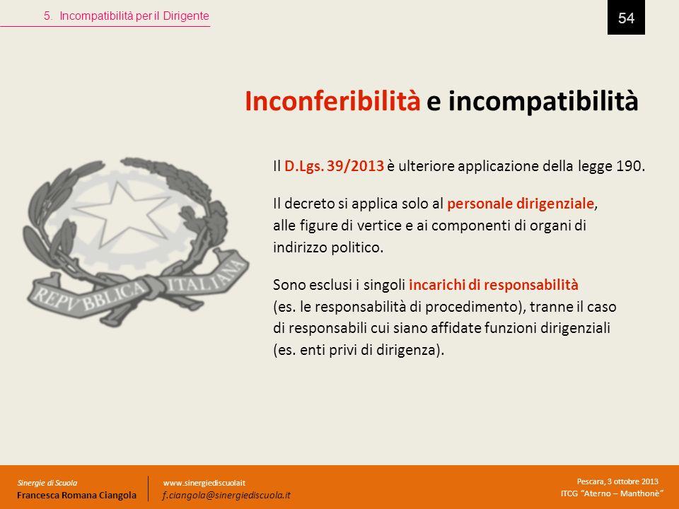 Inconferibilità e incompatibilità 54 5. Incompatibilità per il Dirigente Sinergie di Scuola Francesca Romana Ciangola Pescara, 3 ottobre 2013 ITCG Ate