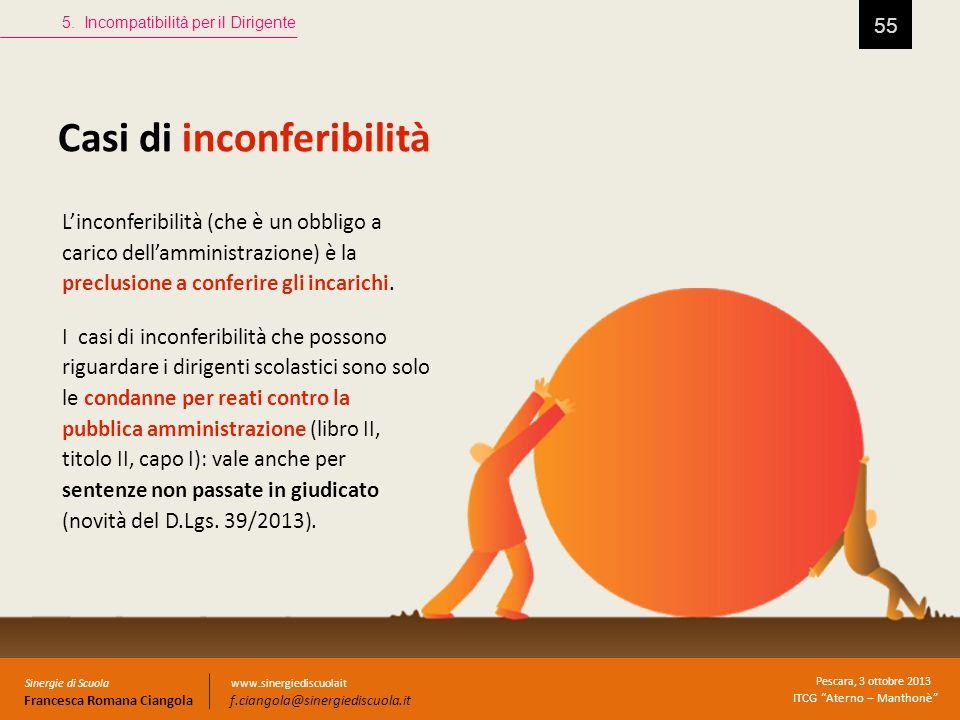 Casi di inconferibilità 55 5. Incompatibilità per il Dirigente Sinergie di Scuola Francesca Romana Ciangola Pescara, 3 ottobre 2013 ITCG Aterno – Mant