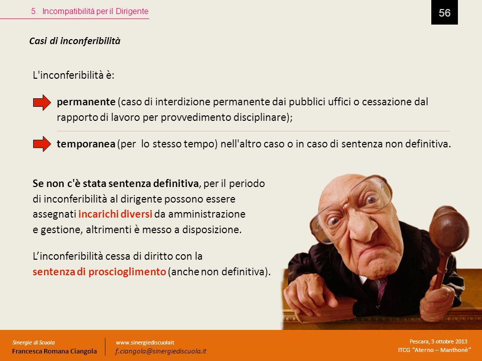 56 Casi di inconferibilità 5. Incompatibilità per il Dirigente Sinergie di Scuola Francesca Romana Ciangola Pescara, 3 ottobre 2013 ITCG Aterno – Mant