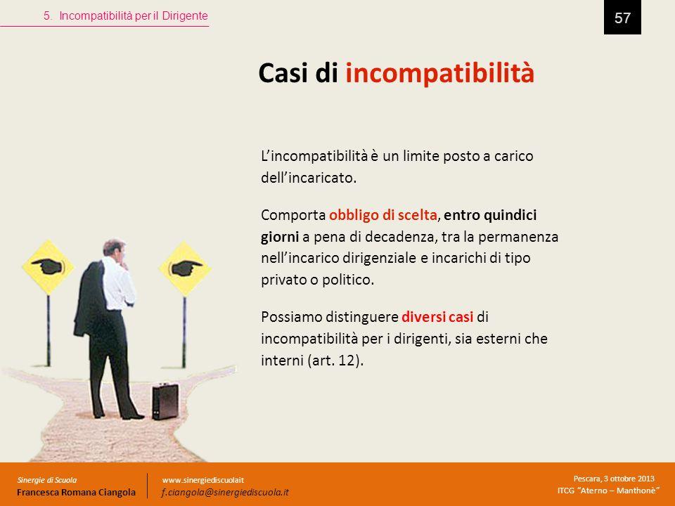 Casi di incompatibilità 57 5. Incompatibilità per il Dirigente Sinergie di Scuola Francesca Romana Ciangola Pescara, 3 ottobre 2013 ITCG Aterno – Mant
