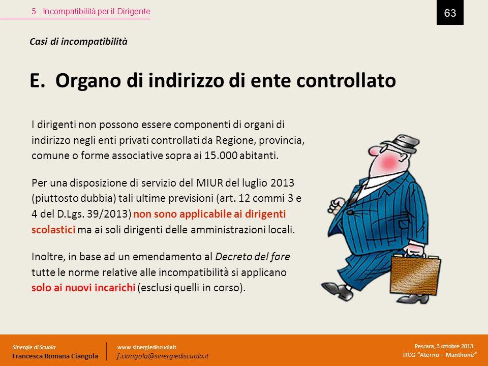 E. Organo di indirizzo di ente controllato 63 5. Incompatibilità per il Dirigente Sinergie di Scuola Francesca Romana Ciangola Pescara, 3 ottobre 2013